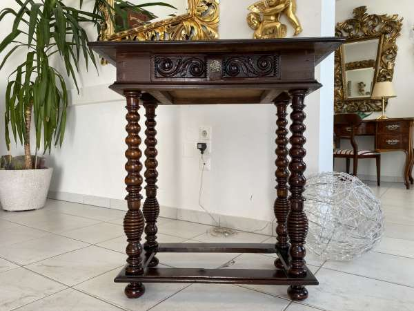prächtiger Beistell Tisch Barocktisch Säulentisch E1960