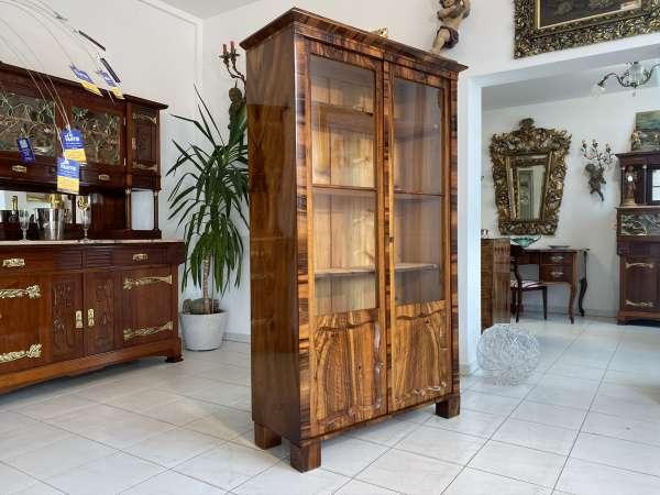 restaurierte Biedermeier Vitrine Bücherschrank Glasschrank E1859
