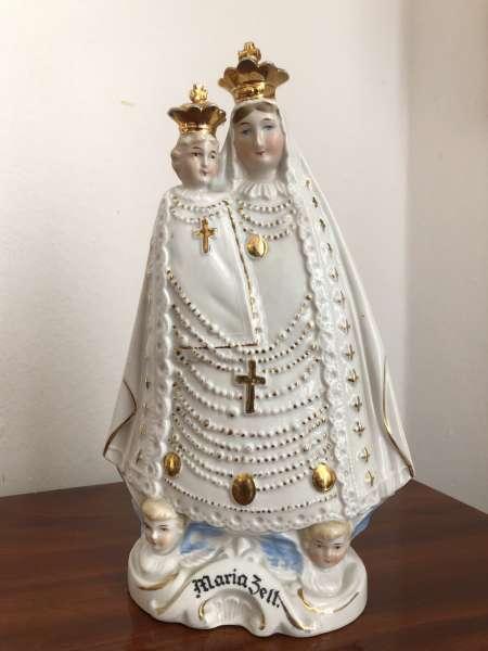 Heiligenfigur Mutter Gottes mit Kind Porzellanfigur Mariazell Z1641