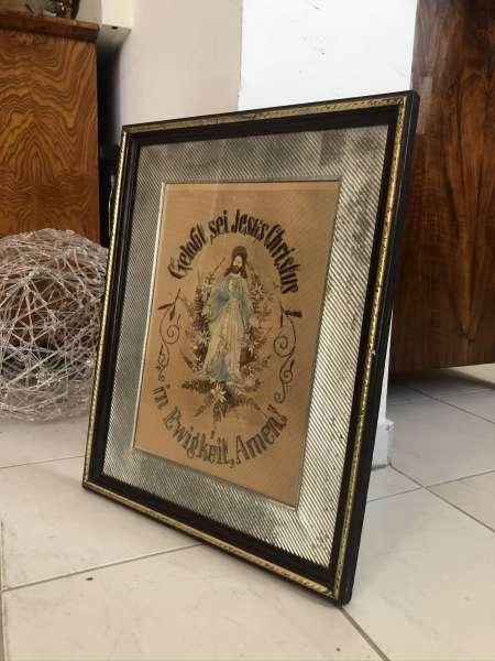 altes Goblinbild Heiligenbild Stickerei Jesus Christus Z2030