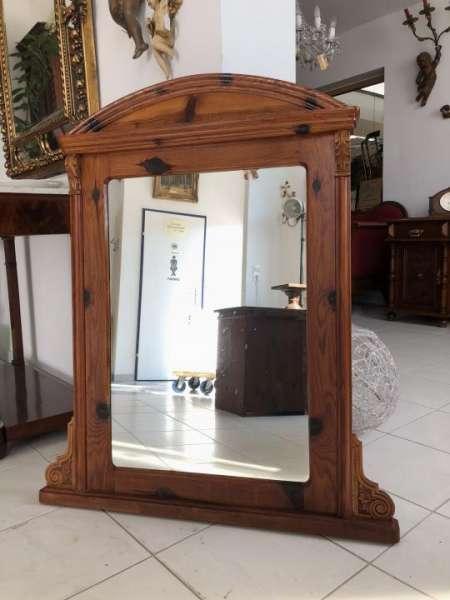 hübscher alter Zirbenholz Wandspiegel Spiegel Dekospiegel X1479