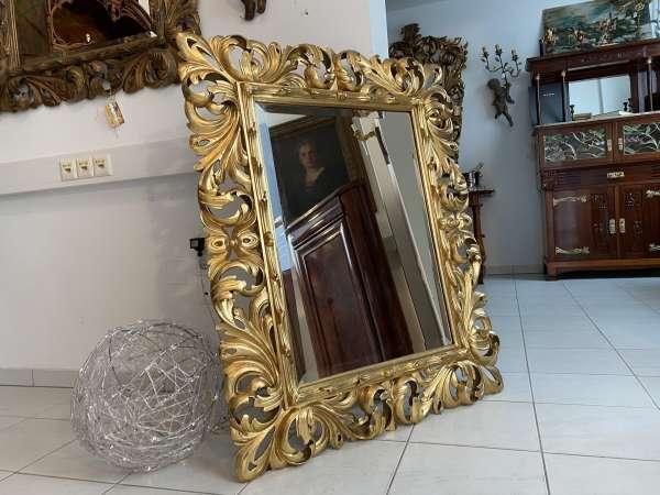 originaler Florentiner Spiegel Akanthusblattschnitzkunst Holzschnitzerei E1541