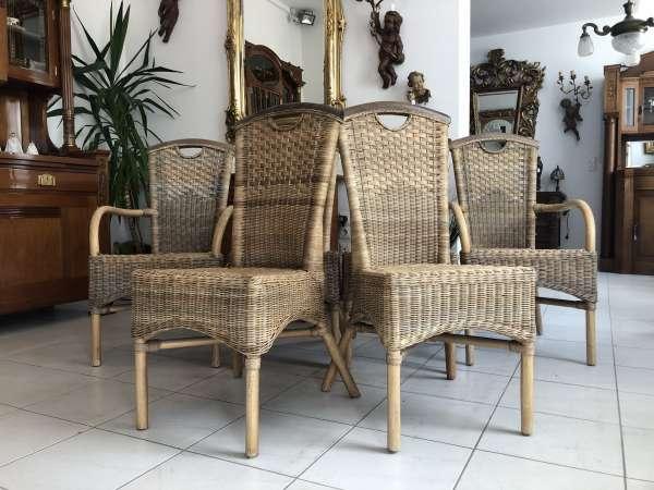uriges 6er Sitzensemble Natur Rattan Naturmaterial Tisch Sessel Z1775