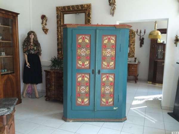 originaler Biedermeier Bauernschrank Kleiderschrank bemalt antik naturholz - A1089