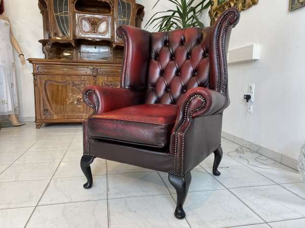 exclusiver cultiger Chesterfield Ohrenfauteuil Ohrenstuhl Oxblood E1665