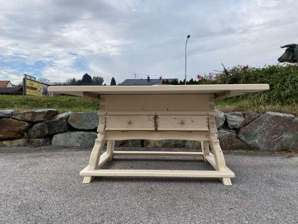 massiver Jogltisch Bauerntisch Naturholz Fichte Hüttentisch 120 x 160 E2228