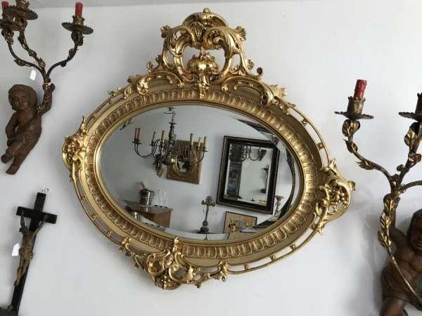 ovaler Florentiner Rahmen Spiegel vergoldet Original - W2114