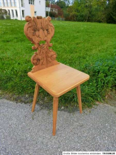 Bauernsessel Sessel Stuhl Landhausstuhl Eichenholz Kerbschnitzereien 2634