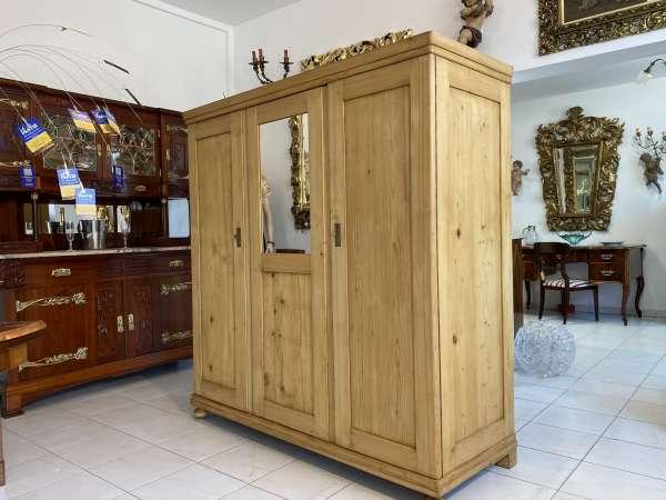bäuerlicher Garderobenschrank Naturholz Spiegelschrank Kleiderkasten E1871