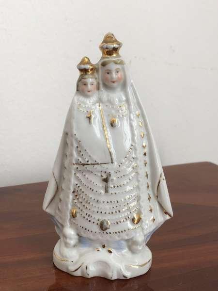 Heiligenfigur Mutter Gottes mit Kind Porzellanfigur Mariazell Z1644