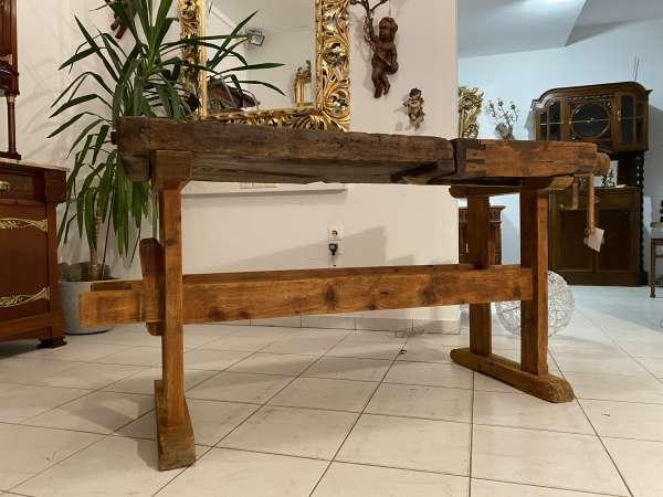 urige alte Hobelbank, Werkbank, Tisch restauriert - breite 165cm E2372