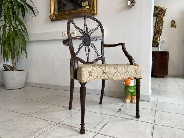 hübscher Jugendstil Armlehn Sessel Spinnenstuhl A2455