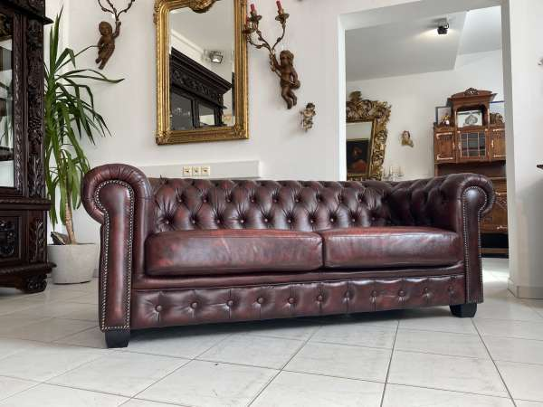 exclusives Chesterfield 2er Clubsofa Diwan Couch Oxblood A2732