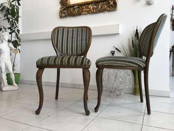 hübscher Jugendstil Sessel Nussholz Stühle W1867