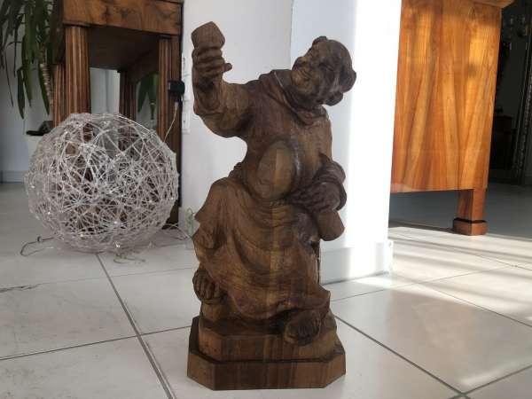 hübsche bäuerliche Holzfigur Zirbenholz Dekostück E1448