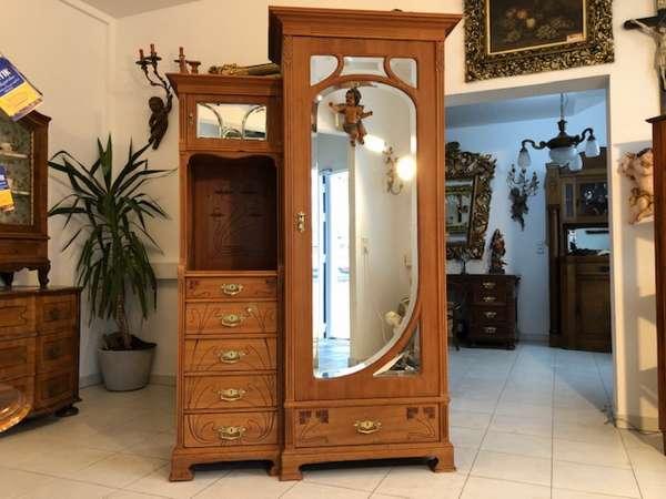floraler Jugendstil Spiegelschrank Kleiderkasten Z1040