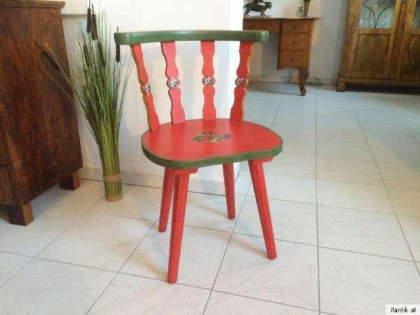 massiver Bauernsessel Stuhl Sprossenstuhl handbemalt Nr. 8158