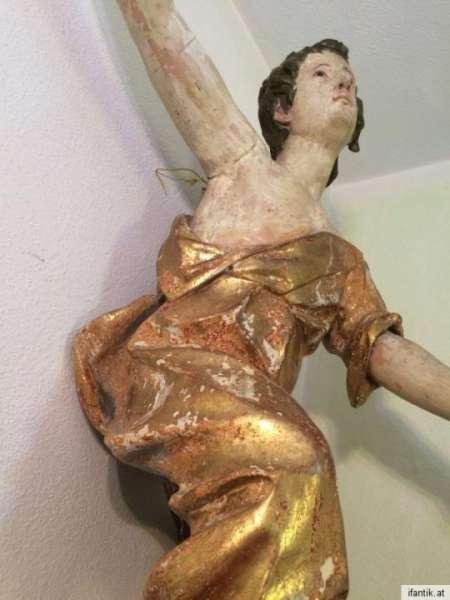 Engel riesige Engelsfigur Holz geschnitzt 18. Jahrhundert 100x70 Nr. 0002