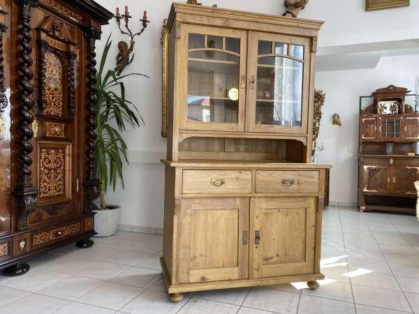 originaler Gründerzeit Küchenschrank Vitrinenschrank Küchenkredenz A2385