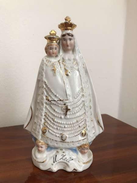 Heiligenfigur Mutter Gottes mit Kind Porzellanfigur Mariazell Z1642