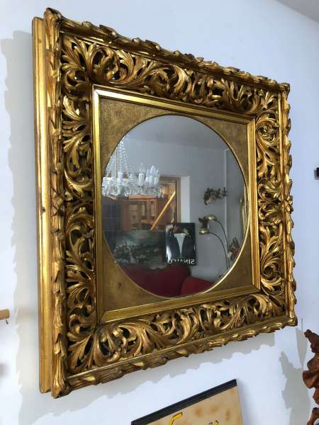 zierlicher Florentiner Spiegel Akanthusblattschnitzkunst Traum Original X1942