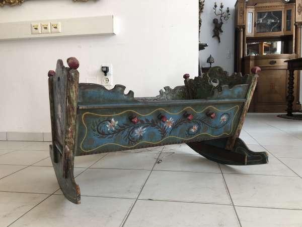 antike originale bemalte Kinderwiege Kinderbett Bett Traum Z1440