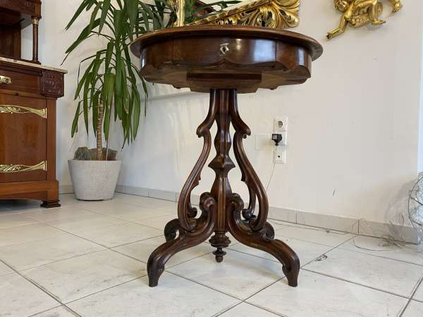 originaler Biedermeier Beistelltisch Tisch Nussholz E2270