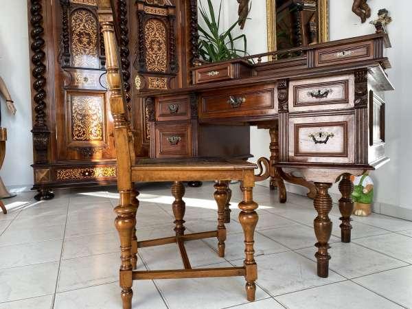 restaurierter Gründerzeit Schreibtisch Sekretär ohne Sessel Nussholz A2416