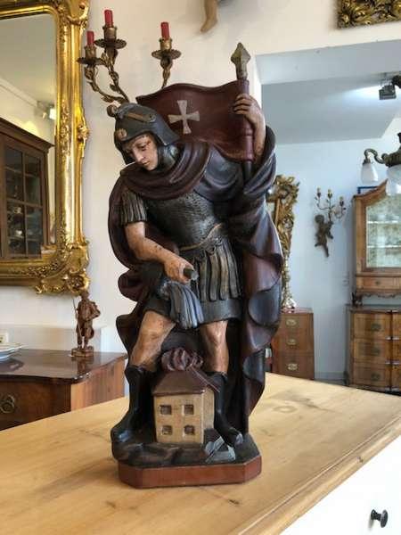 hölzerner heiliger Florian Schnitzkunst Holzschnitzerei X2519