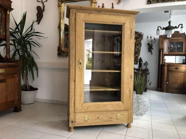 Originale Biedermeier Glasschrank Bücherschrank Vitrine Naturholz Z1755