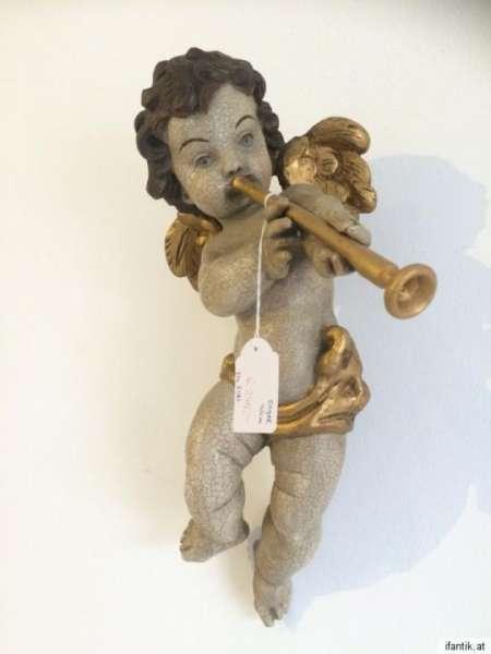 himmlische Engelsfigur Engel Flöte Holzfigur Holzschnitzerei - 8388