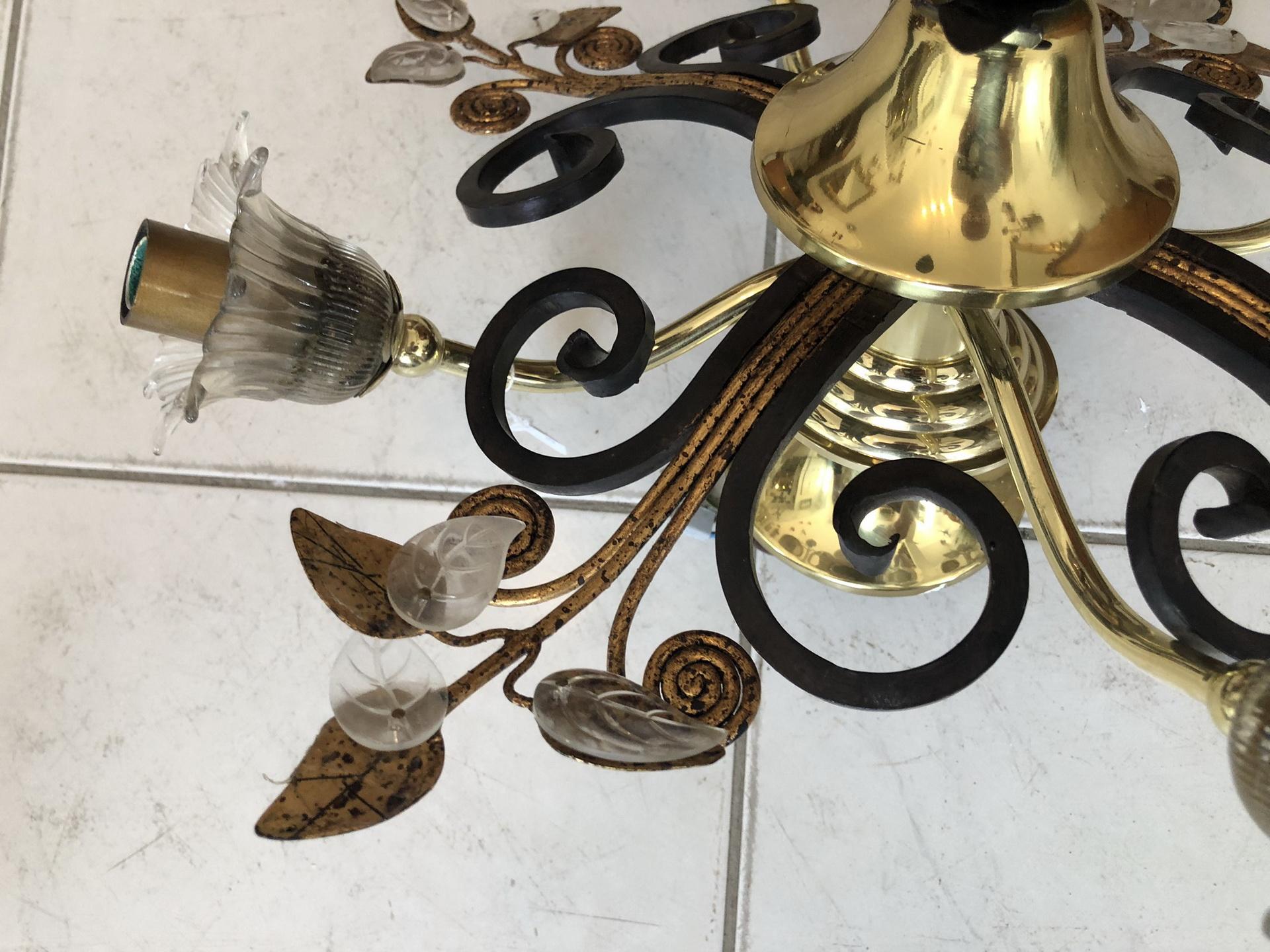 florale Deckenleuchte Luster Blätter Glas Z1693