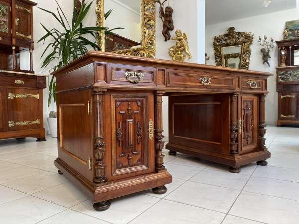 Gründerzeit Schreibtisch Sekretär Schreibmöbel Nussholz E1857