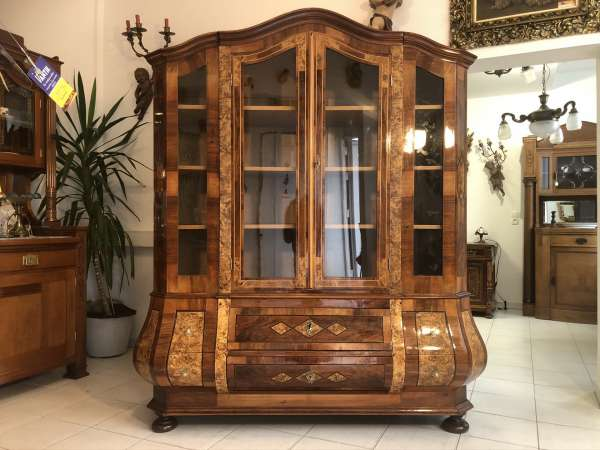 authentische Barock Bücherschrank Vitrinenschrank um 1860 Marketerien Z2140