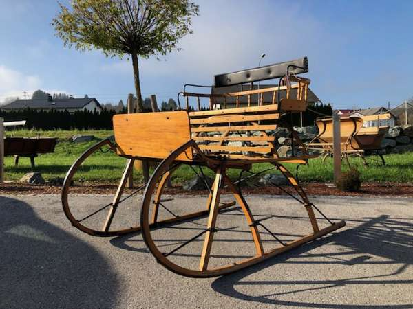 alter Salzburger Pferdeschlitten Schneeschlitten Holzschlitten X2537