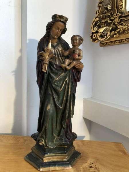Heiligenfigur Wachsfigur Maria Mutter Gottes mit Kerze X1511