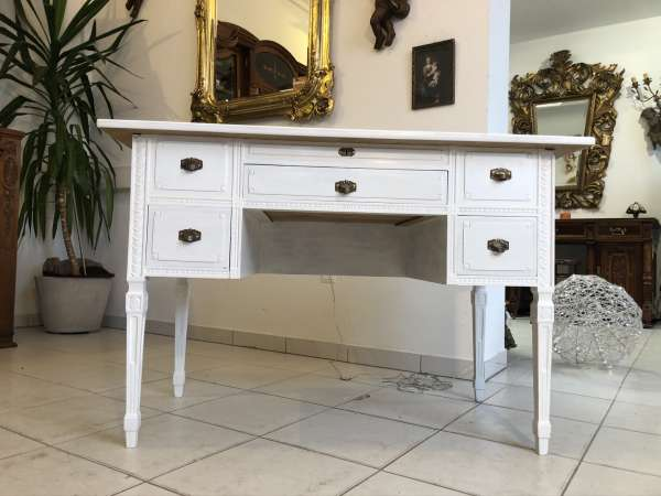 hübscher Jugendstil Schreibtisch weiss Naturholz Z2216
