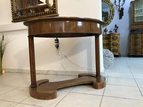 ovaler Spätbiedermeier Tisch Sekretär Damenschreibtisch Nussholz Furniert X1001