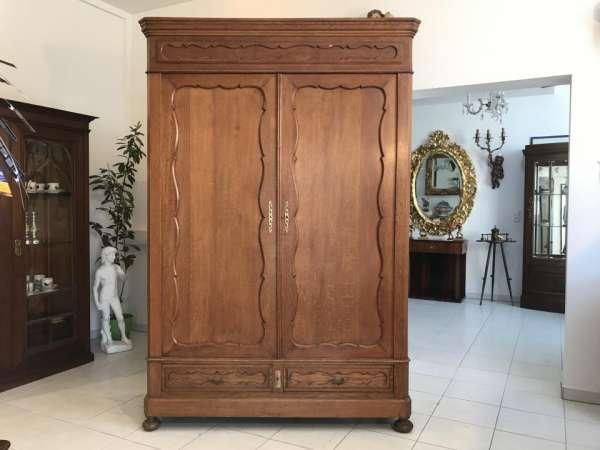 Original Biedermeier Garderobenschrank Kleiderschrank Eiche W1781