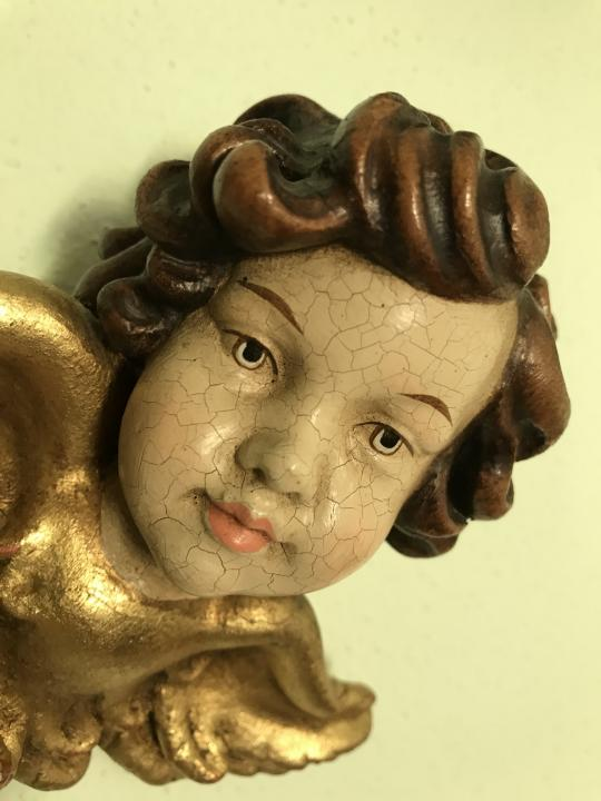 göttlicher Engelskopf Holzengel golden Kunstobjekt Holzgeschnitzt W2217
