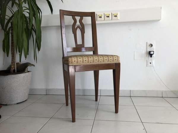 Biedermeier Sessel Nussholz freistehende Tapezierung E1631