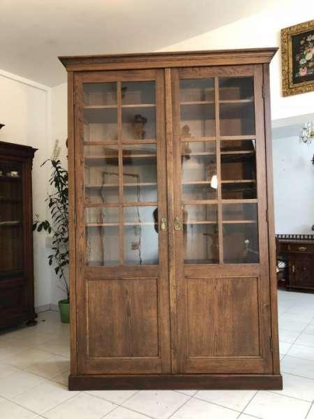 originale Vitrine Glasschrank Jugendstil Bücherschrank Bibliothekschrank X1504