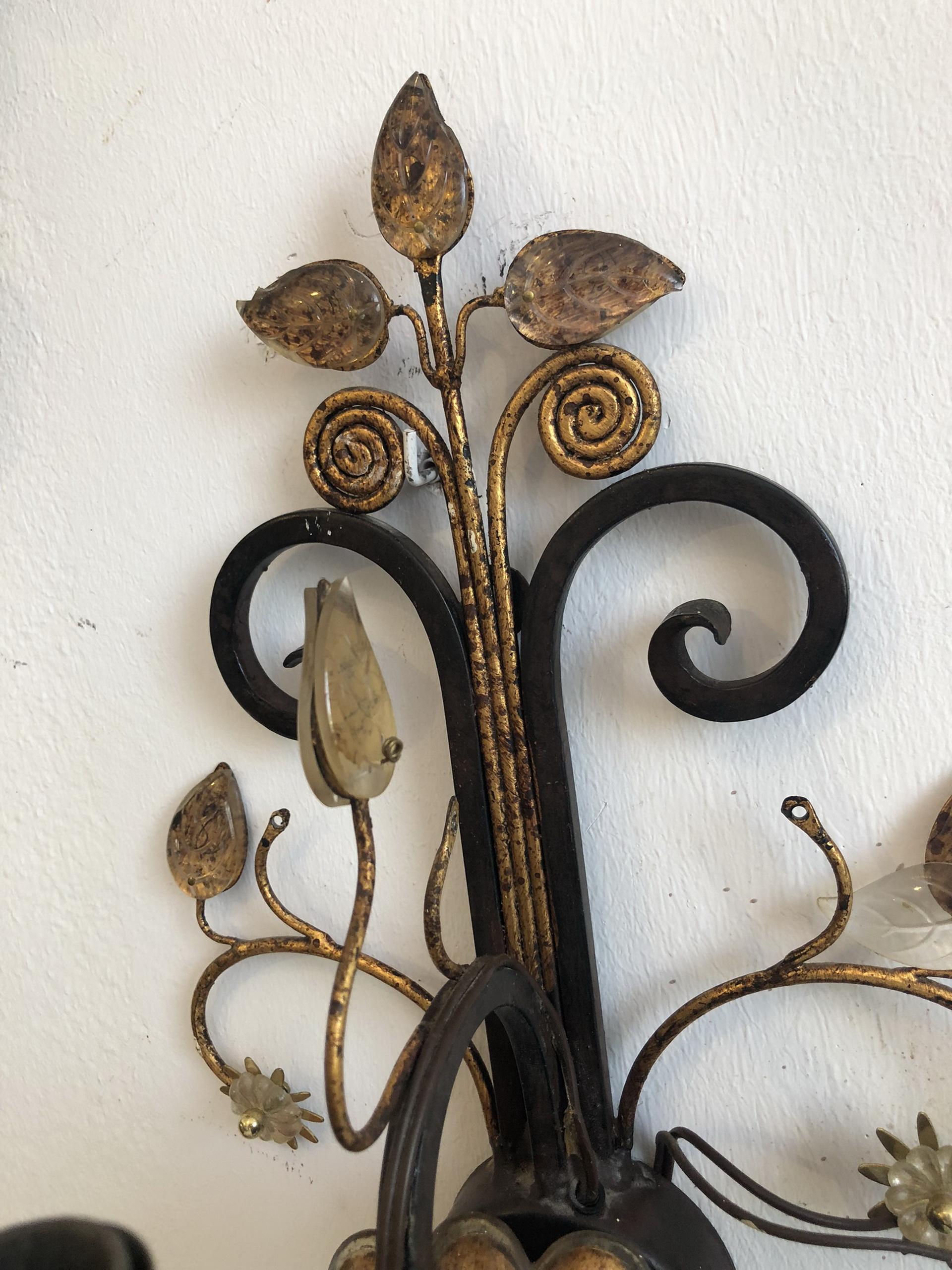 floraler Wandleuchter Seitenleuchte BLätter Glas Ähren Z1691