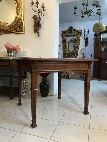 originaler eckiger Gründerzeit Spieltisch Tisch Schellackpoliert - W1370