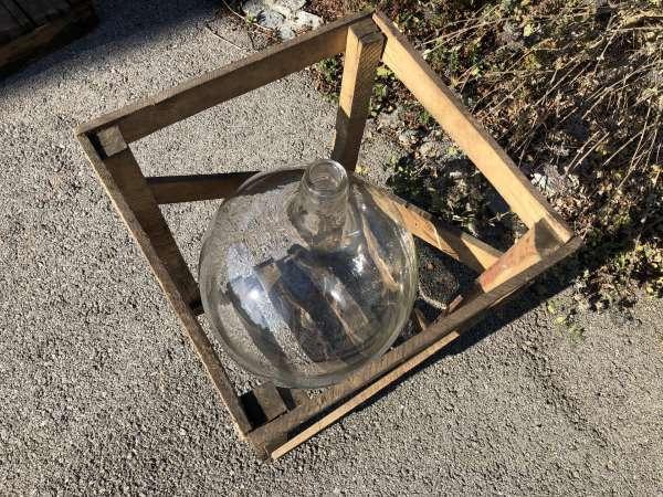 Alte Glasflasche Weinballon, Gärballon, Schnapsflasche X2442