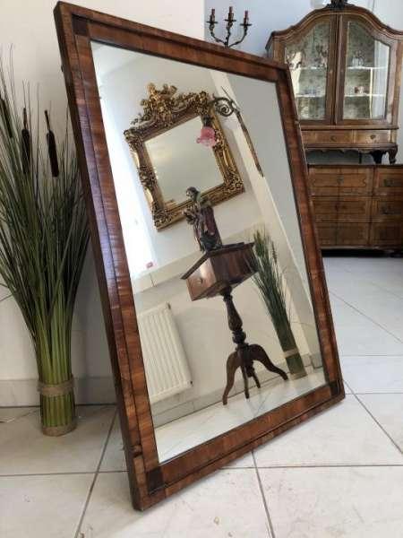 Biedermeier Spiegel Wandspiegel Original Nussholz Furniert - X1253