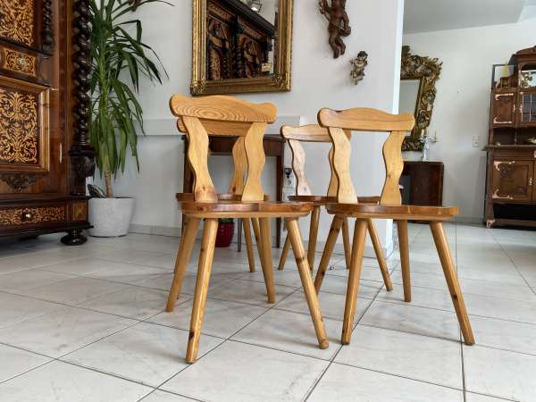 4 Stk. Bauernsessel Sessel Stuhl Ensemble Zirbelkiefer A2321