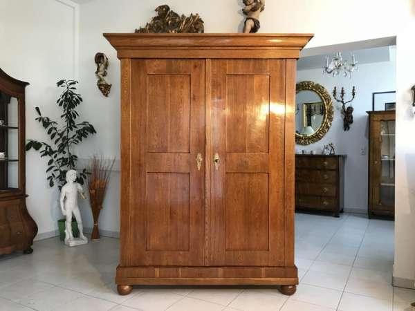 früher Original Biedermeier Kleiderkasten Hallenschrank Eichenholz Restauriert - W3239