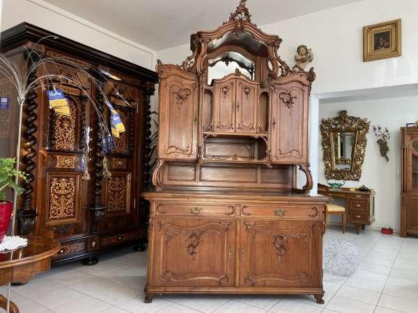 mächtiges Pfeiferlbarock Aufsatzbuffet Aufsatzkredenz Altarschrank A2157