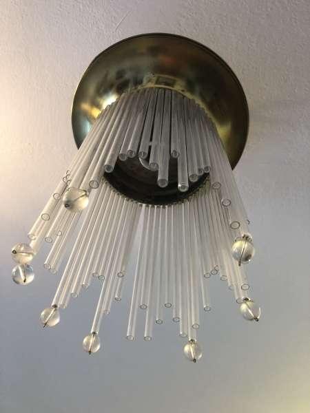 runder Jugendstil Luster Glasleuchter Lampe Z1501